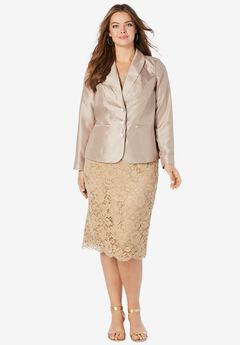 Two-Piece Lace Skirt Suit, SPARKLING CHAMPAGNE