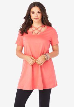 Lattice-Neck Short Sleeve Ultimate Tunic,