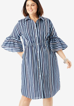Bell-Sleeve Shirtdress with Button Front, BLUE WHITE STRIPE
