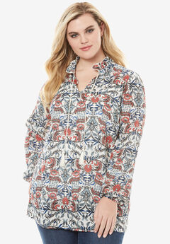 Neck-Tie Shirt with Ruffle Sleeves, MULTI PAISLEY PRINT
