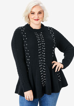 Fit-and-Flare Sweater, BLACK