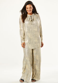 2-Piece Metallic Pant Set with Pleating,