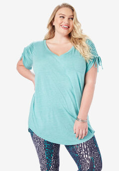 Ruched-Sleeve Boyfriend Tunic with Drawstrings,
