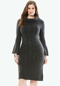 Bell-sleeved Sweater Dress,