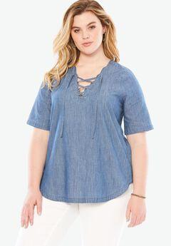 Lace Up Denim Shirt by Denim 24/7,