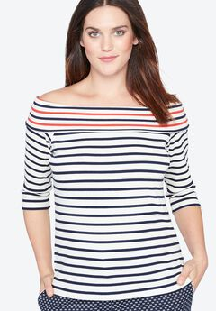 Striped Boatneck Shirt by Castaluna,