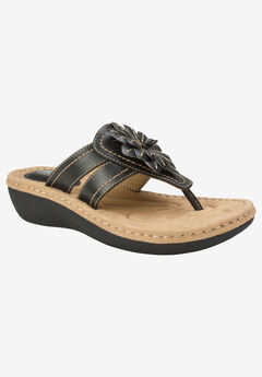 Cupcake Sandal by Cliffs by White Mountain, BLACK SMOOTH
