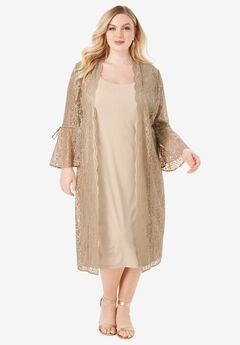 Lace Duster Jacket Dress Set, SPARKLING CHAMPAGNE