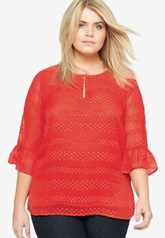Ruffle Sleeve Top by Castaluna, RED