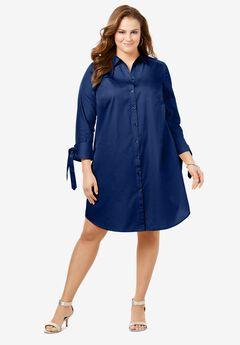 Tie-Sleeve Kate Shirtdress, EVENING BLUE