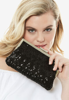 Sequin Clutch, BLACK