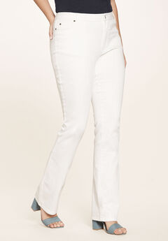 Bootcut Jean with Invisible Stretch® by Denim 24/7®, BRIGHT WHITE DENIM