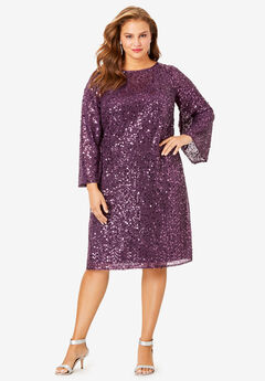 Beaded Dress with Bell Sleeves, EGGPLANT
