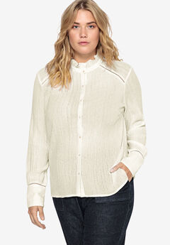 Ruffle Trim Button-Front Blouse Castaluna by La Redoute,
