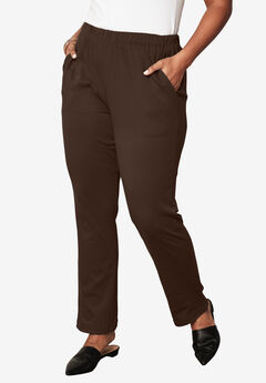 Straight-Leg Soft Knit Pant, CHOCOLATE