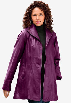 A-Line Leather Jacket, DARK BERRY