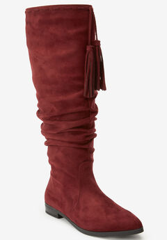 The Adelyn Wide Calf Boot by Comfortview®, BURGUNDY
