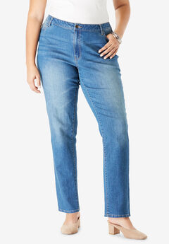 Straight-Leg Jean with Invisible Stretch® by Denim 24/7®, MEDIUM WASH