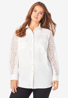 Lace-Sleeve Denim Big Shirt, WHITE