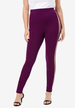 Sequin-Stripe Legging,
