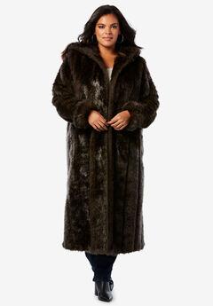 54b3fa97ad2bc Full Length Faux-Fur Coat with Hood. Roaman s