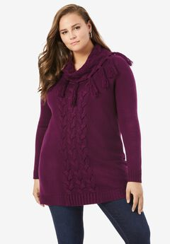 Fringed Cowl-Neck Sweater,