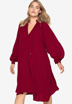 Blouson Sleeve Trapeze Dress Castaluna by La Redoute, RICH BURGUNDY