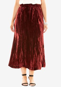 Pleated Velvet Skirt,