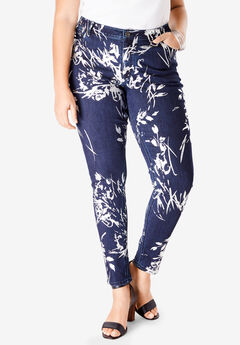 Foil Print Jean with Invisible Stretch® by Denim 24/7®,