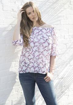 Floral Off The Shoulder Shirt, FLORAL PRINT