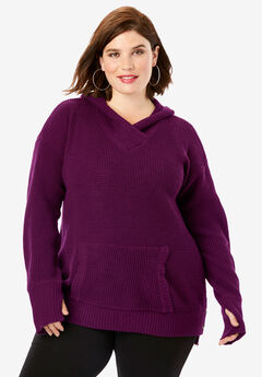 Thermal Hoodie Pullover Sweater, DARK BERRY