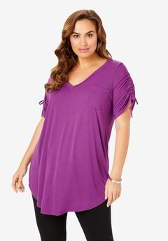 Ruched-Sleeve Boyfriend Tunic,