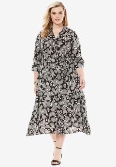 Keyhole Belted Shirtdress,