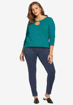 Long-Sleeve Keyhole Ultimate Tee, GEMSTONE GREEN