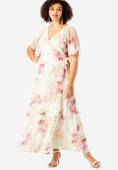 Surplice Maxi Dress in Crinkle,