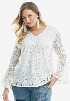 Lace Bell-Sleeve Blouse, WHITE