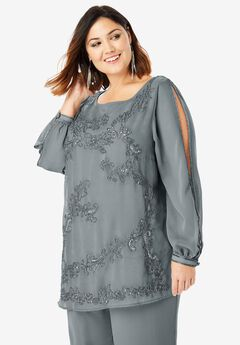 Beaded Illusion-Sleeve Top, GUNMETAL
