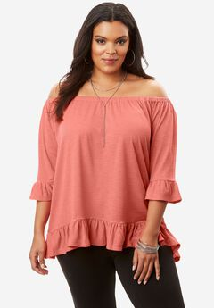 Flounce Top with Adjustable Neckline,