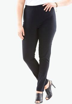Skinny-Leg Pull-On Stretch Jean by Denim 24/7®, BLACK