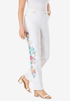 Floral Print Straight-Leg Jean ,