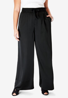 Satin Wide-Leg Pant, BLACK