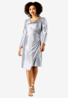 Metallic V-Neck Dress with Side Ruching , SILVER SHIMMER