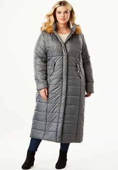 Quilted Faux-Fur Trim Maxi Length Parka,