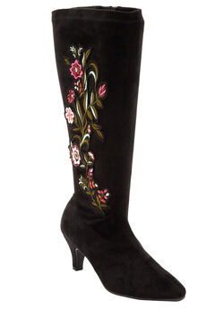 The Rowen Wide Calf Boot by Comfortview®, BLACK EMBROIDERY