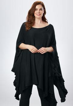 Ruffle Poncho Sweater, BLACK