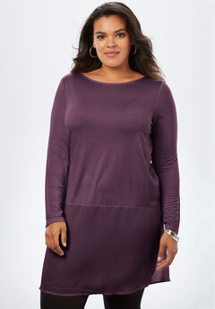 Sheer Hem Drape Super Tunic, EGGPLANT