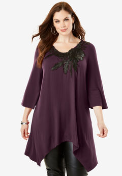 Applique Drape Super Tunic, EGGPLANT