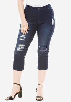 Distressed Capri Jean with Invisible Stretch® by Denim 24/7®,