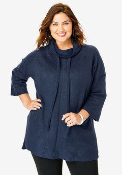 Soft Luxe Cowl-Neck Sweater, NAVY