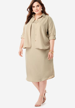 Three-Quarter Sleeve Jacket Dress Set with Button Front, SANDY BEIGE